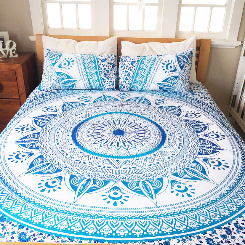 White Amp Blue King Ombre Medallion Mandala Duvet Cover With