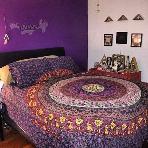 Purple Bohemian Hippie Mandala Duvet Cover Set With 2