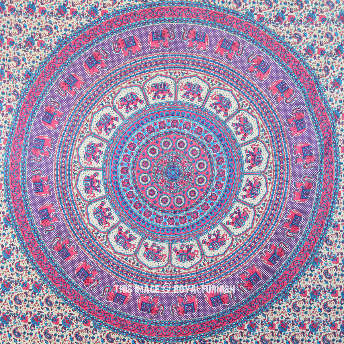 Blue Amp Pink Indian Elephant Hippie Mandala Wall Tapestry