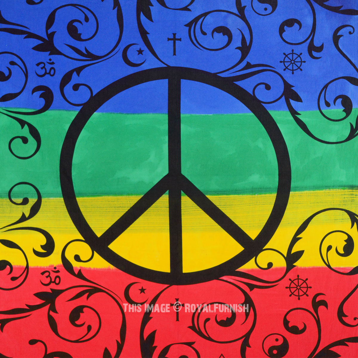 Colorful Peace Sign Symbol Tapestry Royalfurnish Com