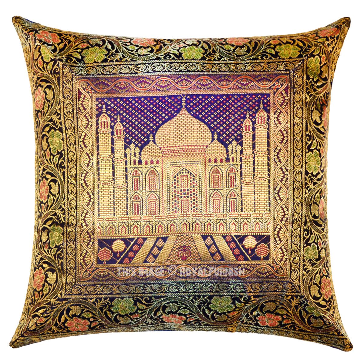 16x16 Decorative Pillow Covers : Blue Taj Mahal Featuring Decorative Square Silk Pillow Sham Cover 16X16 - RoyalFurnish.com
