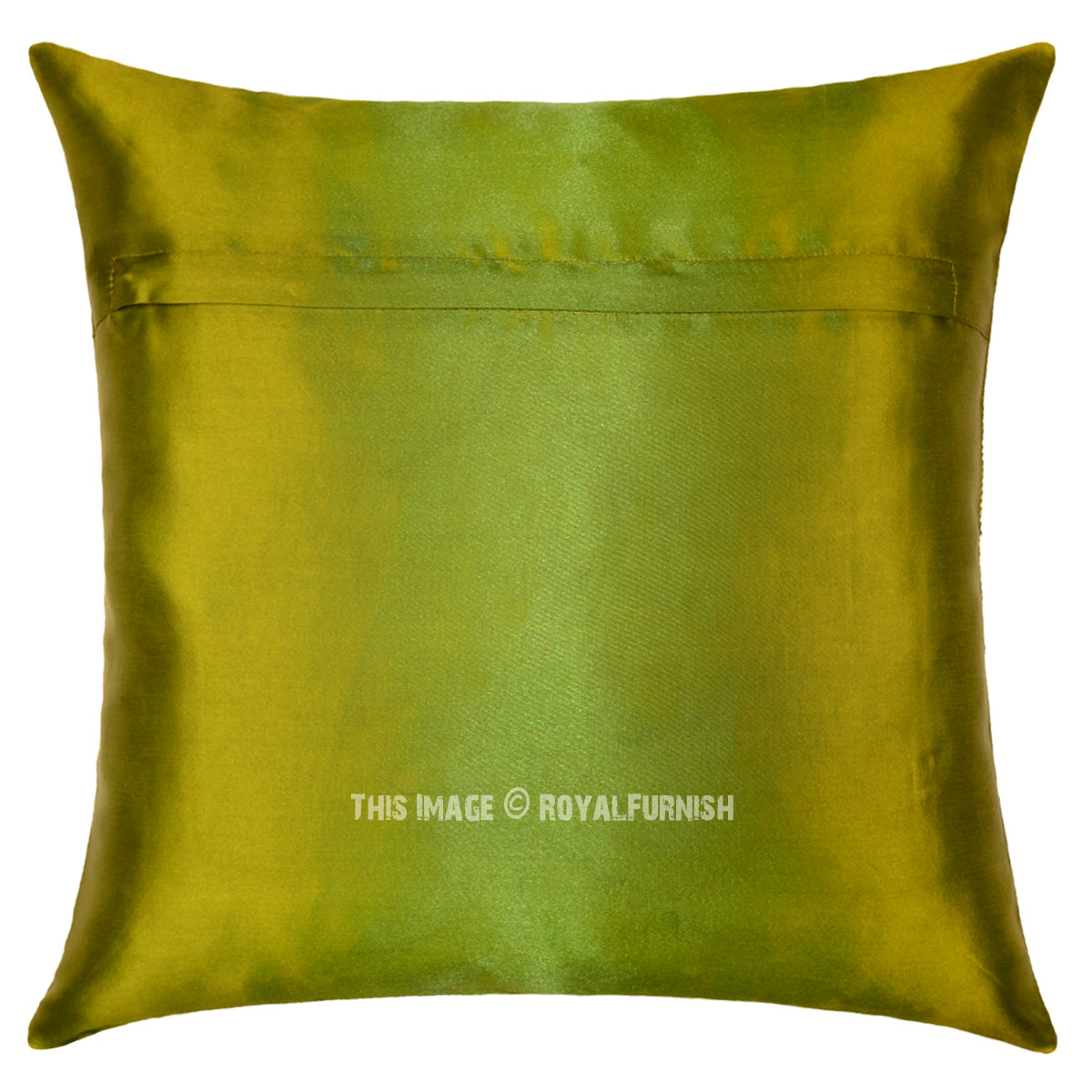 Decorative Lumbar Pillows Green : Green Floral Medallion Circle 16X16 Decorative Silk Throw Pillow Case 16X16 - RoyalFurnish.com