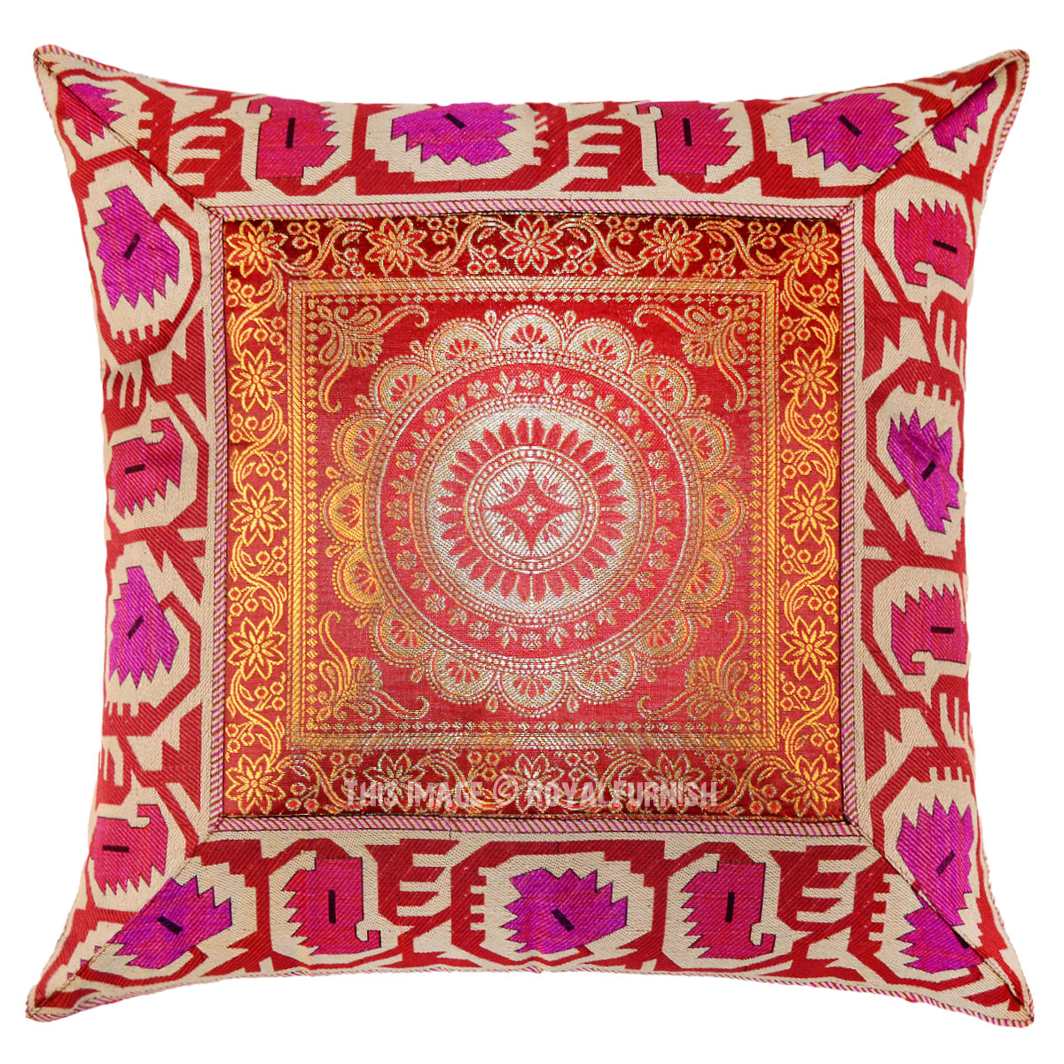 Brown Medallion Decorative And Boho Accent Silk Pillow