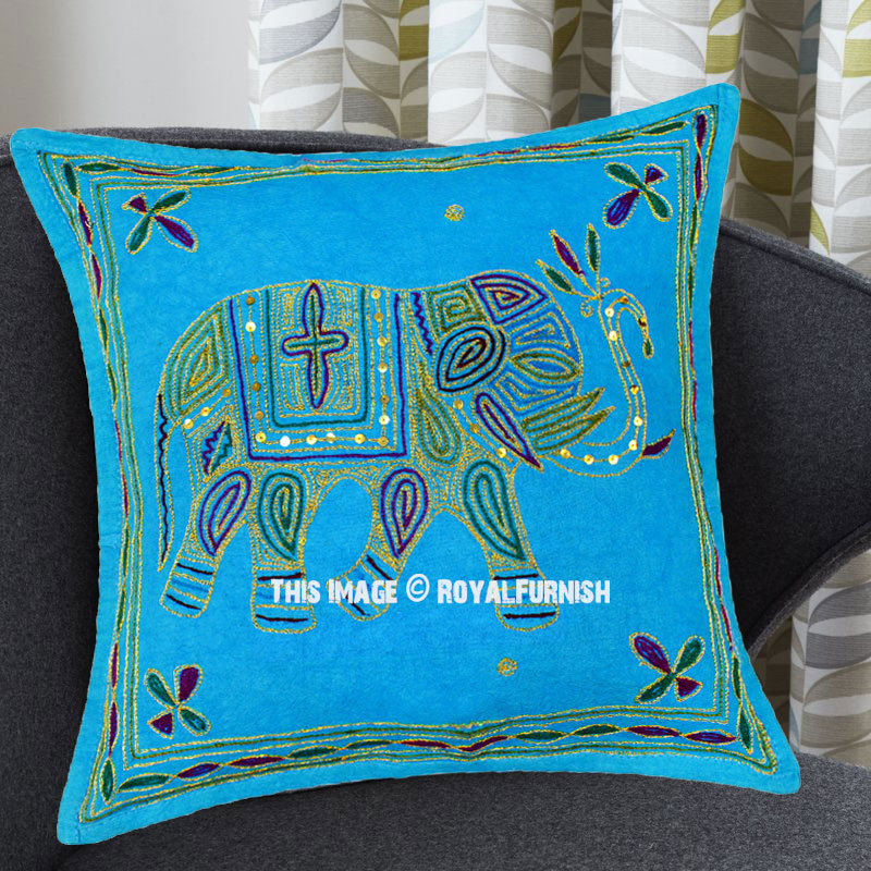 16x16 Decorative Pillow Covers : Turquoise Needlepoint 16X16 Decorative Embroidered Elephant Pillow Cover - RoyalFurnish.com