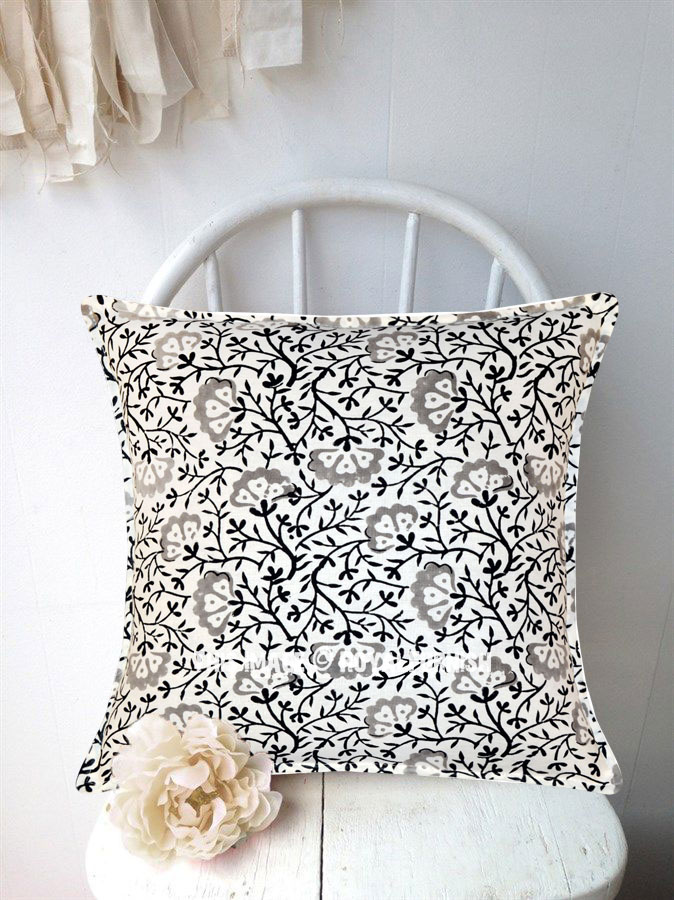 White Amp Black Decorative Floral Hand Block Printed Pillow