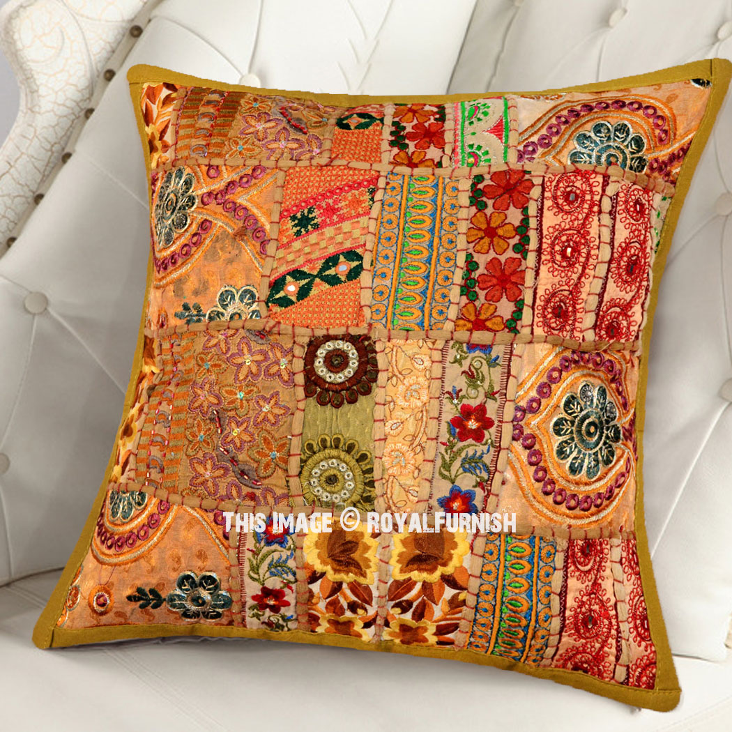 Khakhi Green 16x16 Inch Decorative Bohemian Patchwork