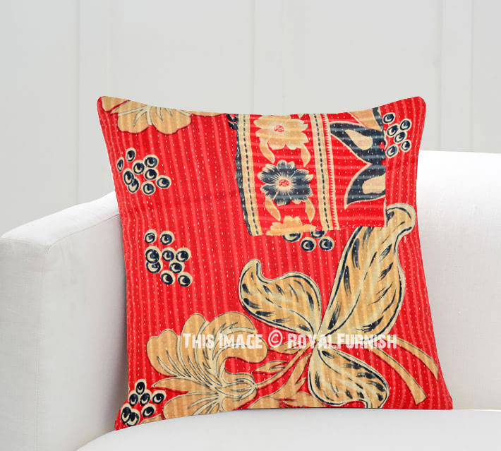 18X18 Red Multi Decorative Old Vintage Kantha Throw Pillow Cover - RoyalFurnish.com