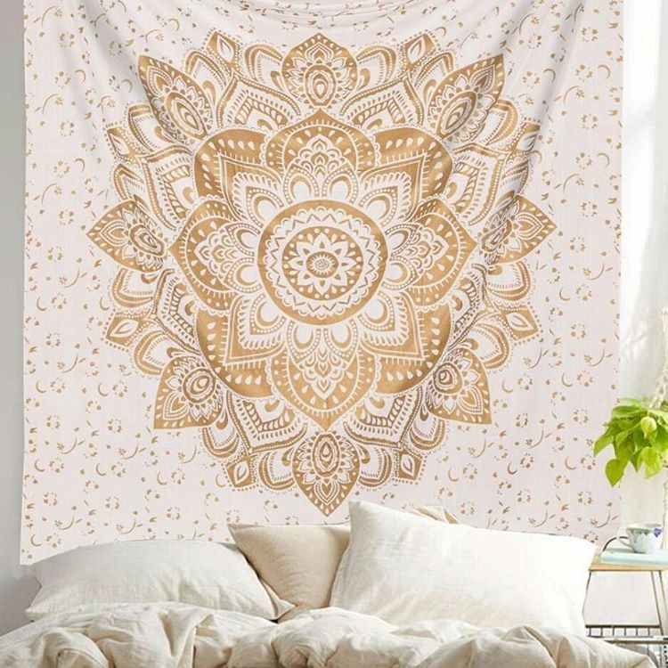 Gold Geometric Flower Ombre Mandala Wall Tapestry