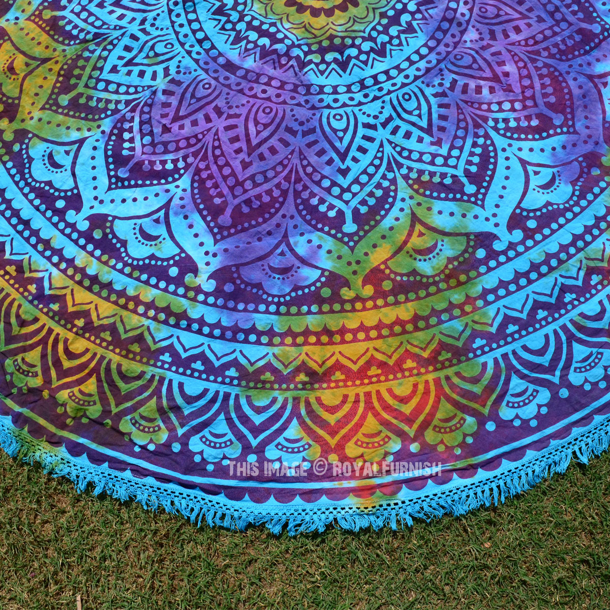 Turquoise Multi Tie Dye Ombre Roundie Beach Throw