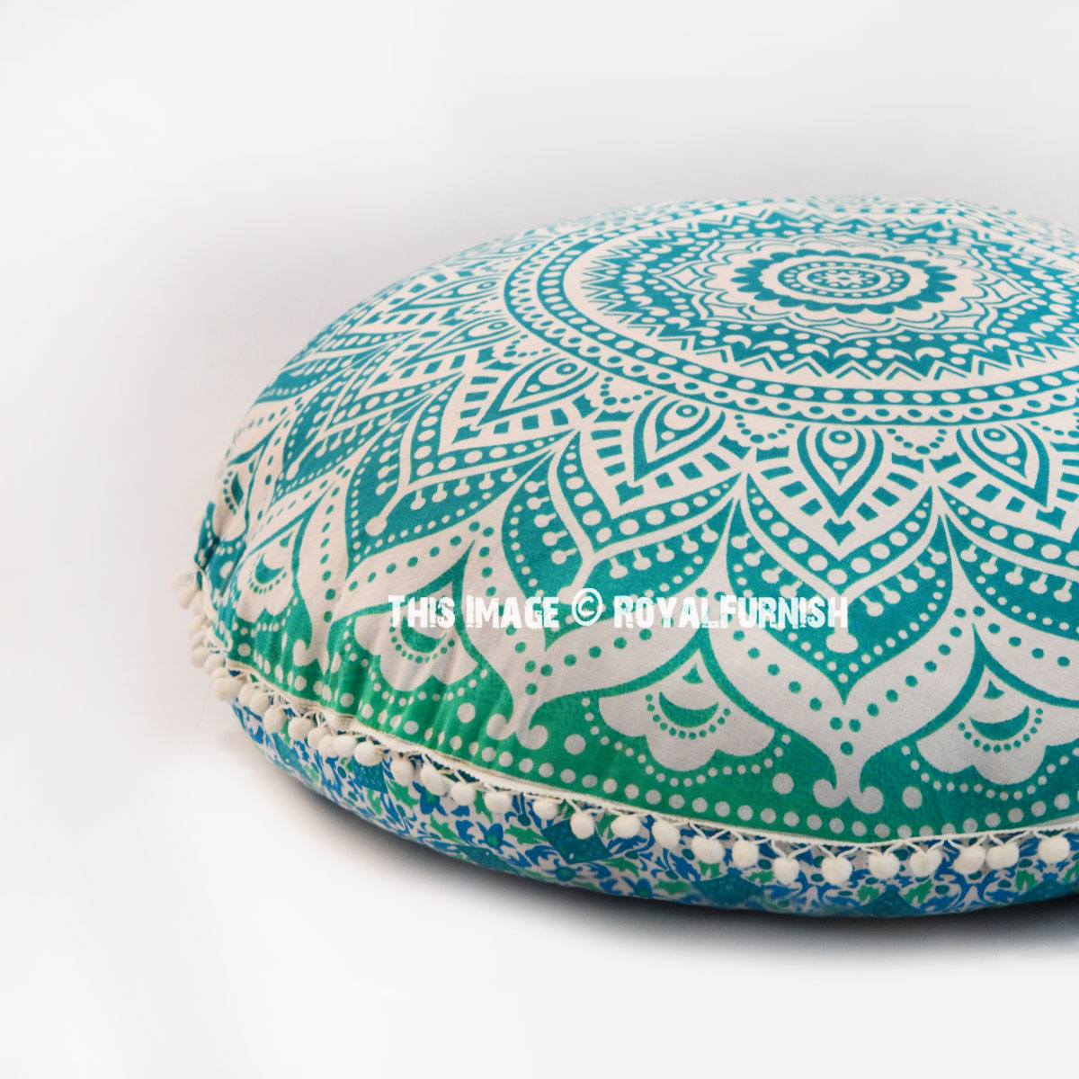 Sea Green Ombre Mandala Round Floor Pillow Cover 32 Quot Inch