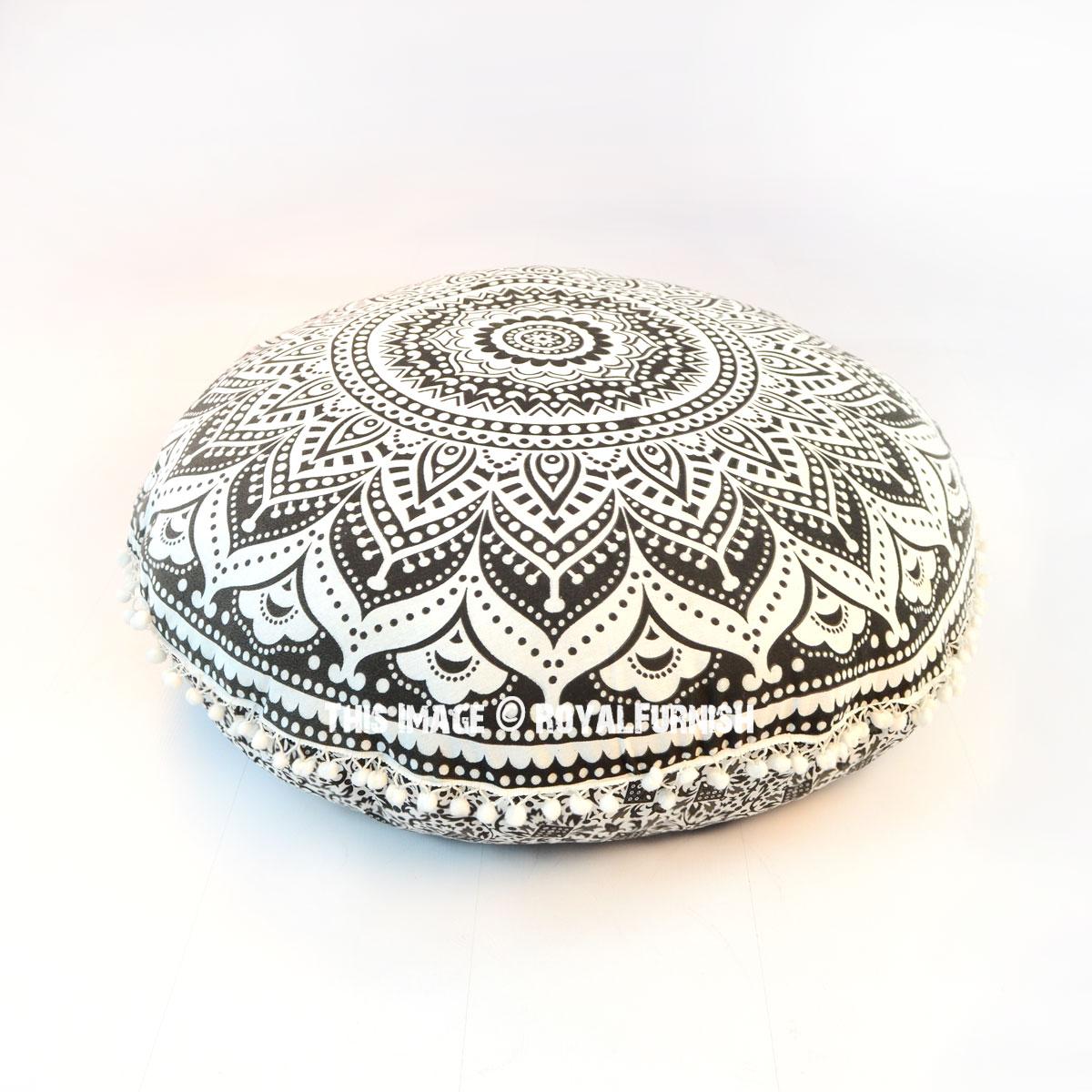 Black Classic Ombre Mandala Round Floor Pillow Cover 32
