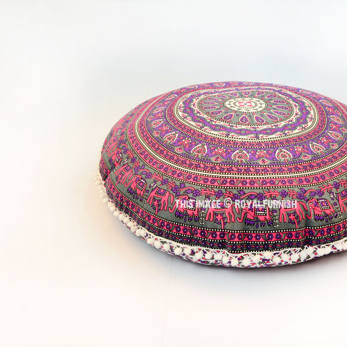 Pink & Grey Elephants Ring Medallion Round Floor Pillow Cover - RoyalFurnish.com