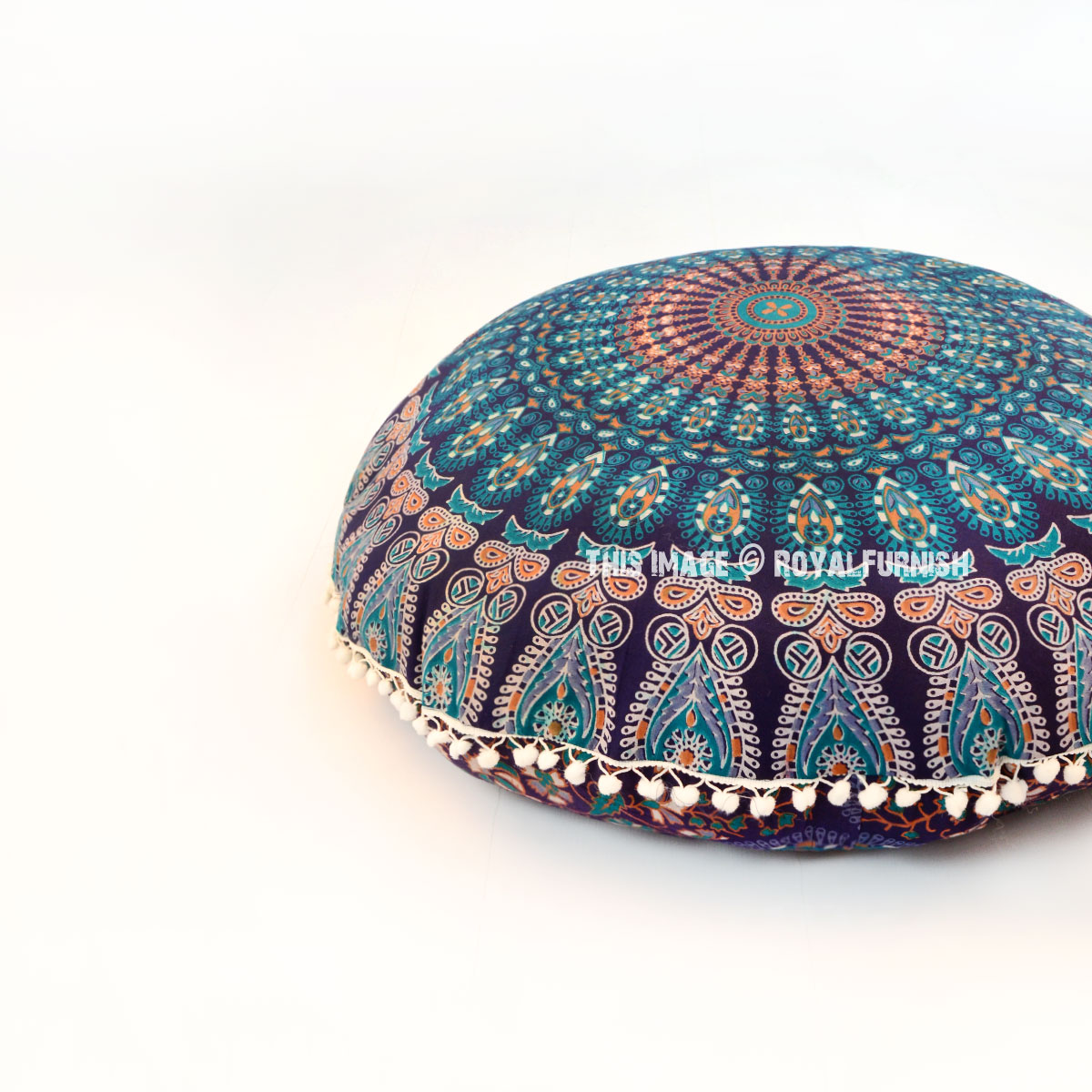 Round Floor Pillow Blue : Blue Multi Bohemian Mandala Circle Round Floor Pillow Cover 32 Inch - RoyalFurnish.com