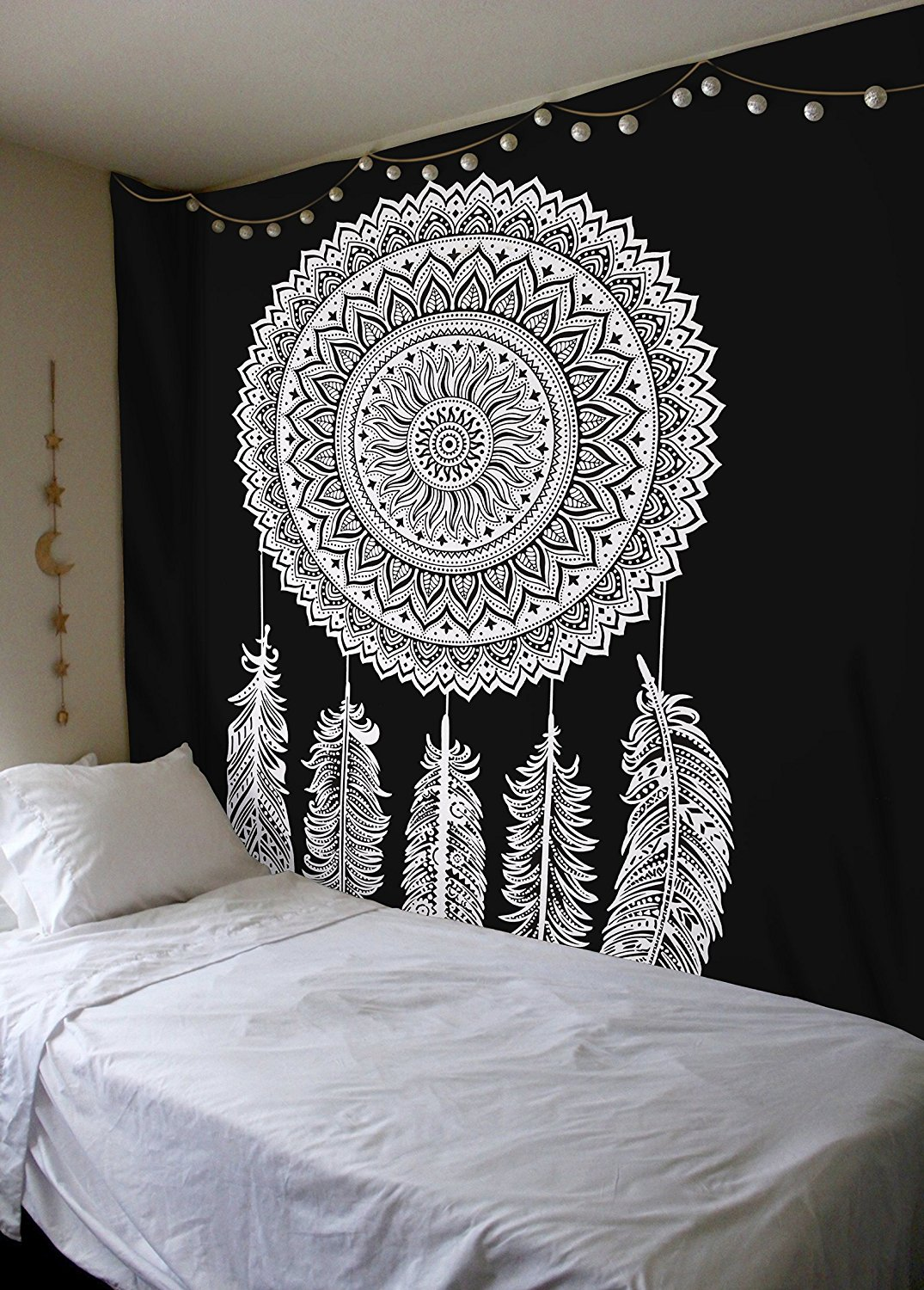 Queen Black White Dream Catcher Mandala Wall Hanging Cotton Tapestry
