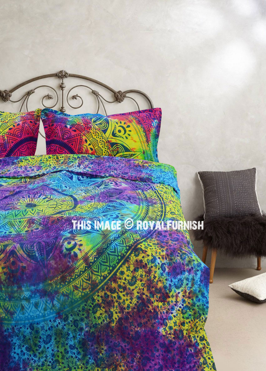 Colorful Mixed Tie Dye Ombre Duvet Covers Set With Two