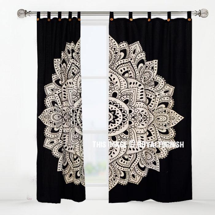 Black Amp White Rangoli Mandala Tapestry Curtain Panel Pair