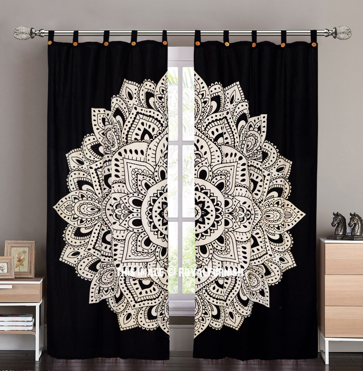 Black Amp White Rangoli Mandala Tapestry Curtain Panel Pair