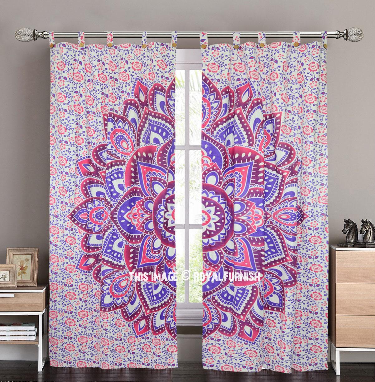 Pink Amp Purple Tegula Mandala Tapestry Curtain Panel Pair