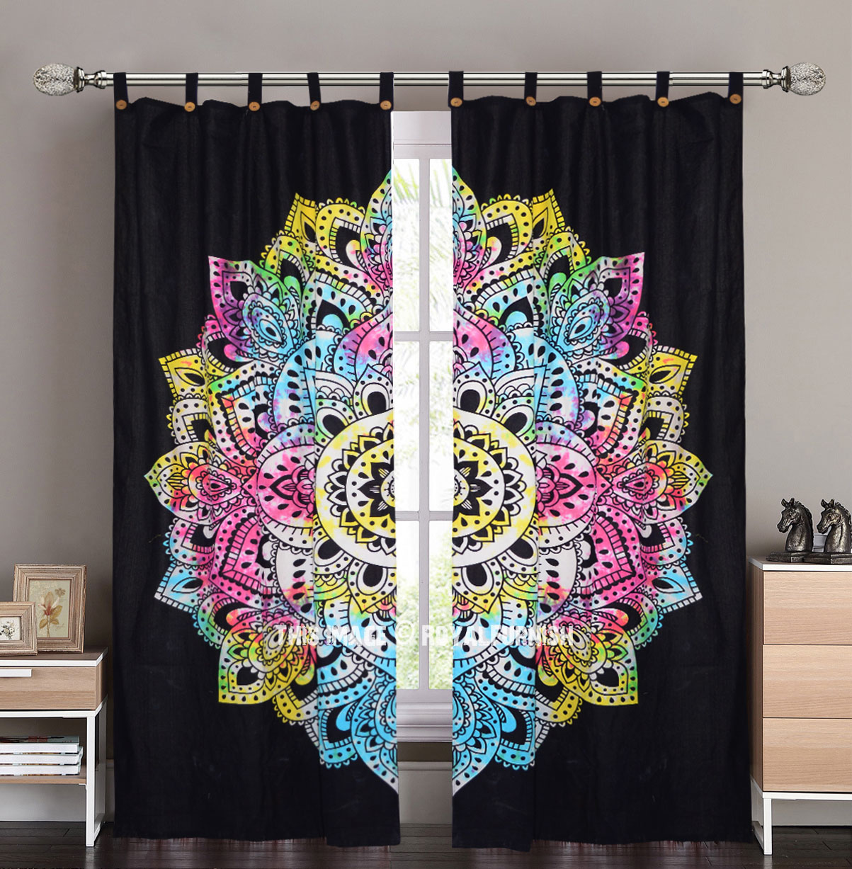 Black Multi Tie Dye Lotus Mandala Tapestry Curtain Panel