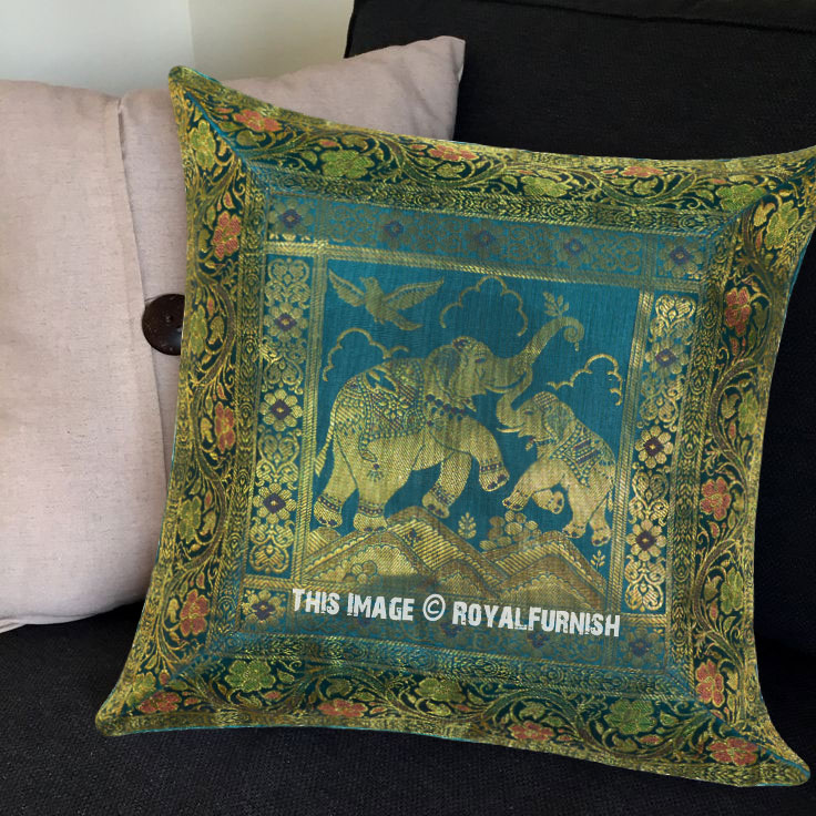 Decorative Elephant Featuring Turquoise Silk Pillow Cover