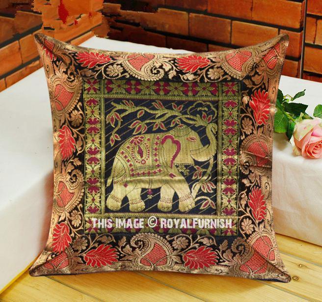 Decorative Amp Boho Accent Elephant Silk Brocade Throw