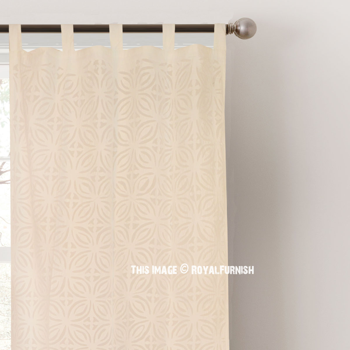 White Cutwork Design Sheer Cotton Curtains Set Of 2