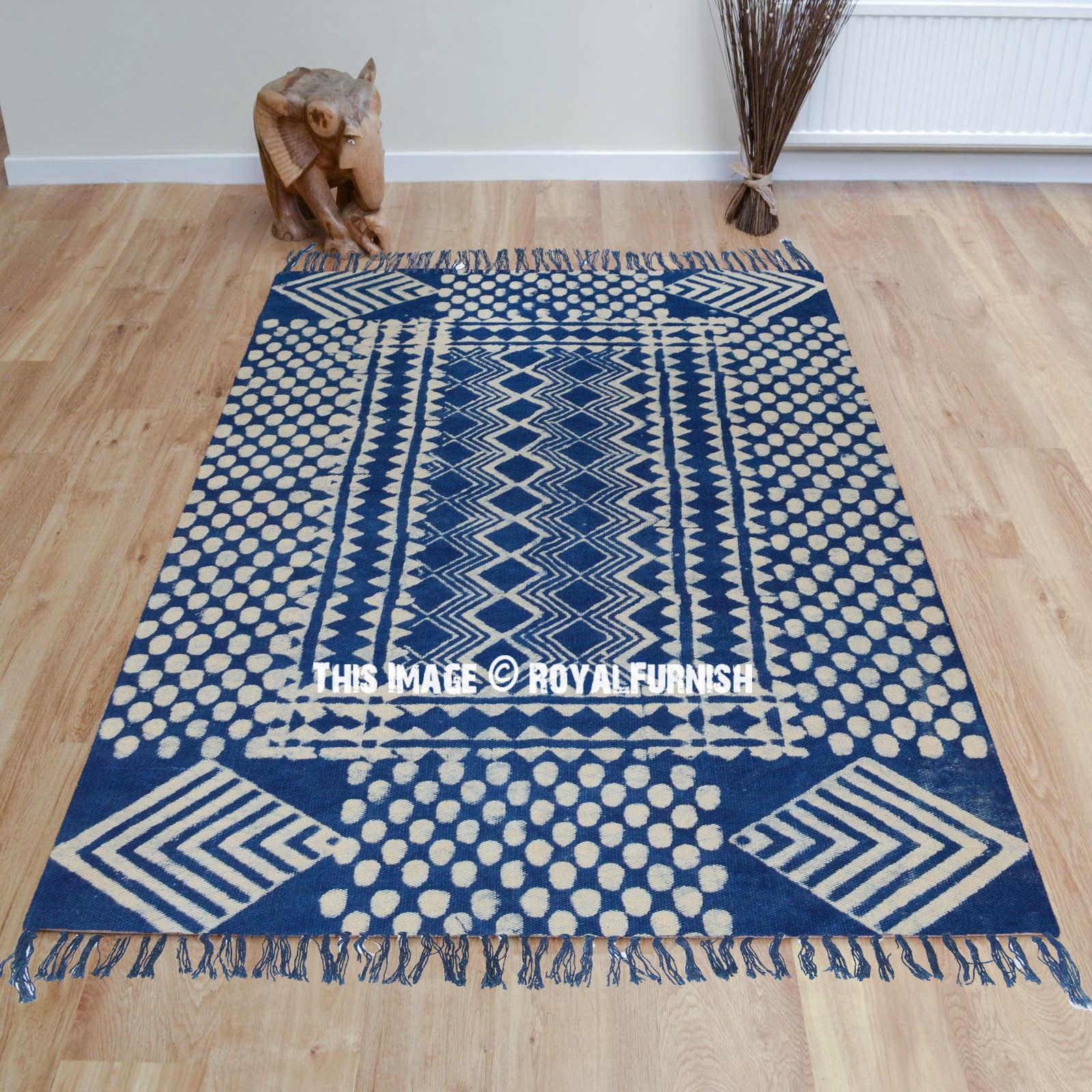 Indigo Blue Dots Zigzag Printed Outdoor Indoor Dhurrie Rug
