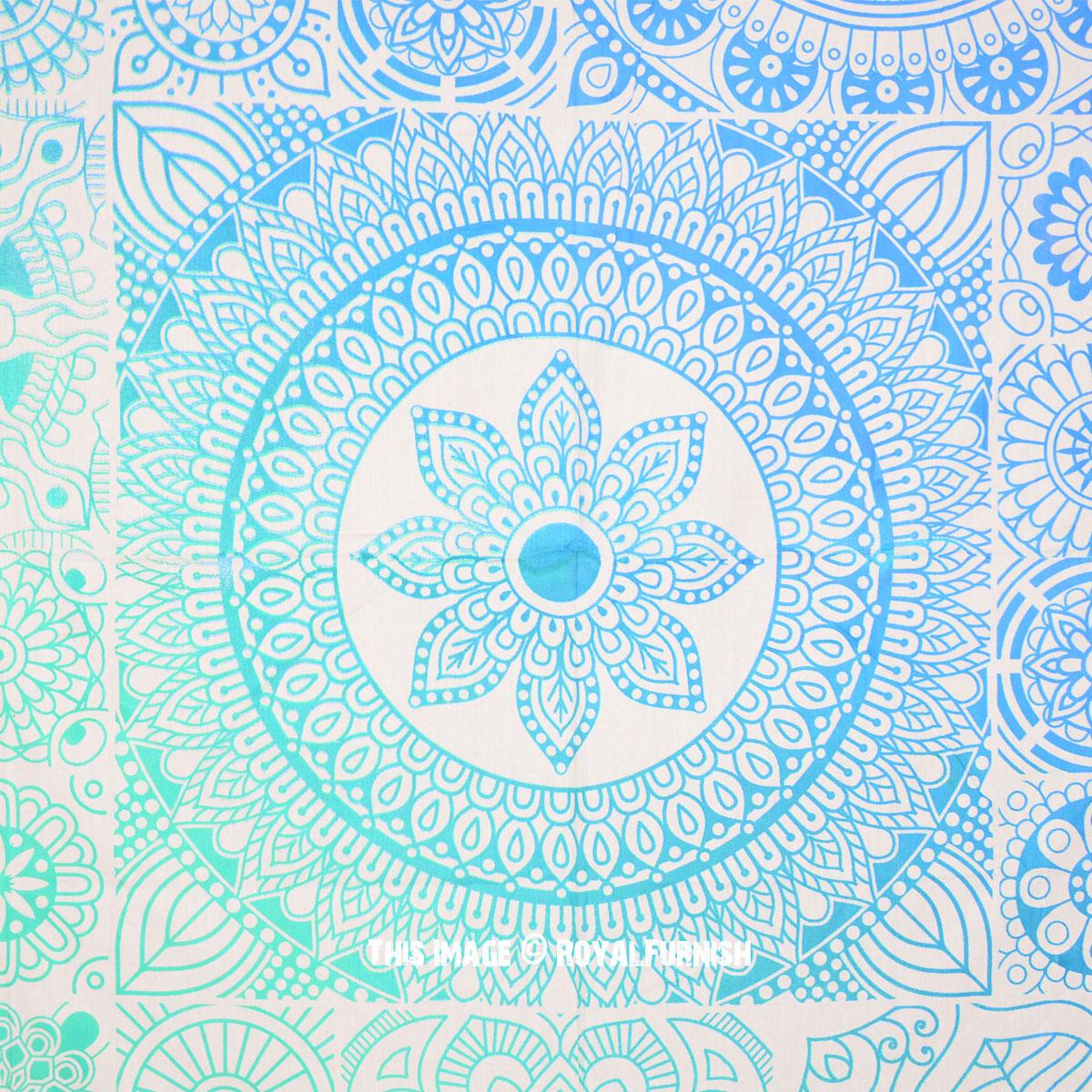 Sea Green Amp Blue Mandala Pattern Prisma Tapestry Bedspread