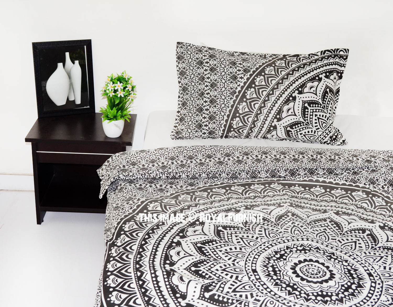 Gray & Black Goddess Twin Bohemian Mandala Bedding Duvet