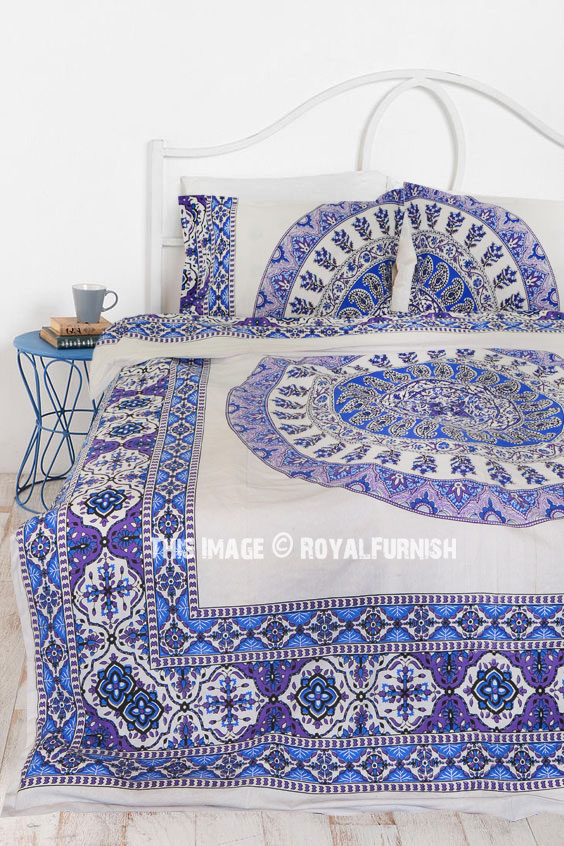 White Amp Blue Bliss Bohemian Gypsy Mandala Bedding Duvet