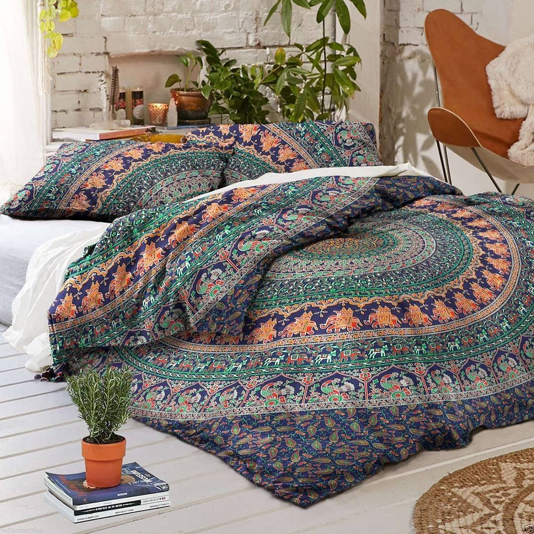 Blue Multi Jumbo Medallion Boho Bedding Mandala Duvet