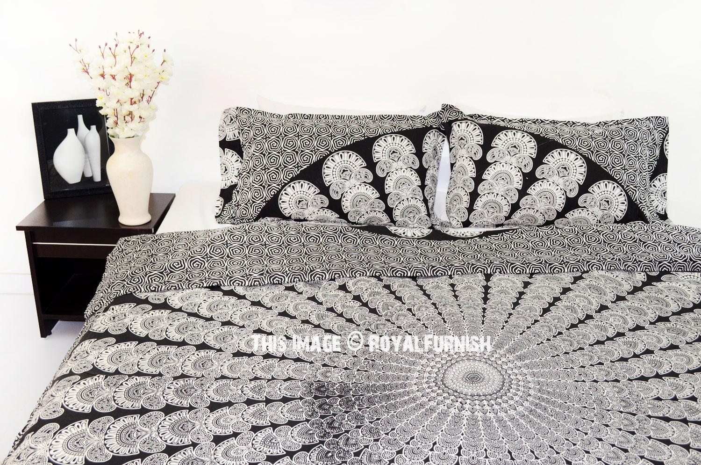 Black & White Queen Boho Bedding Mandala Duvet Cover Set