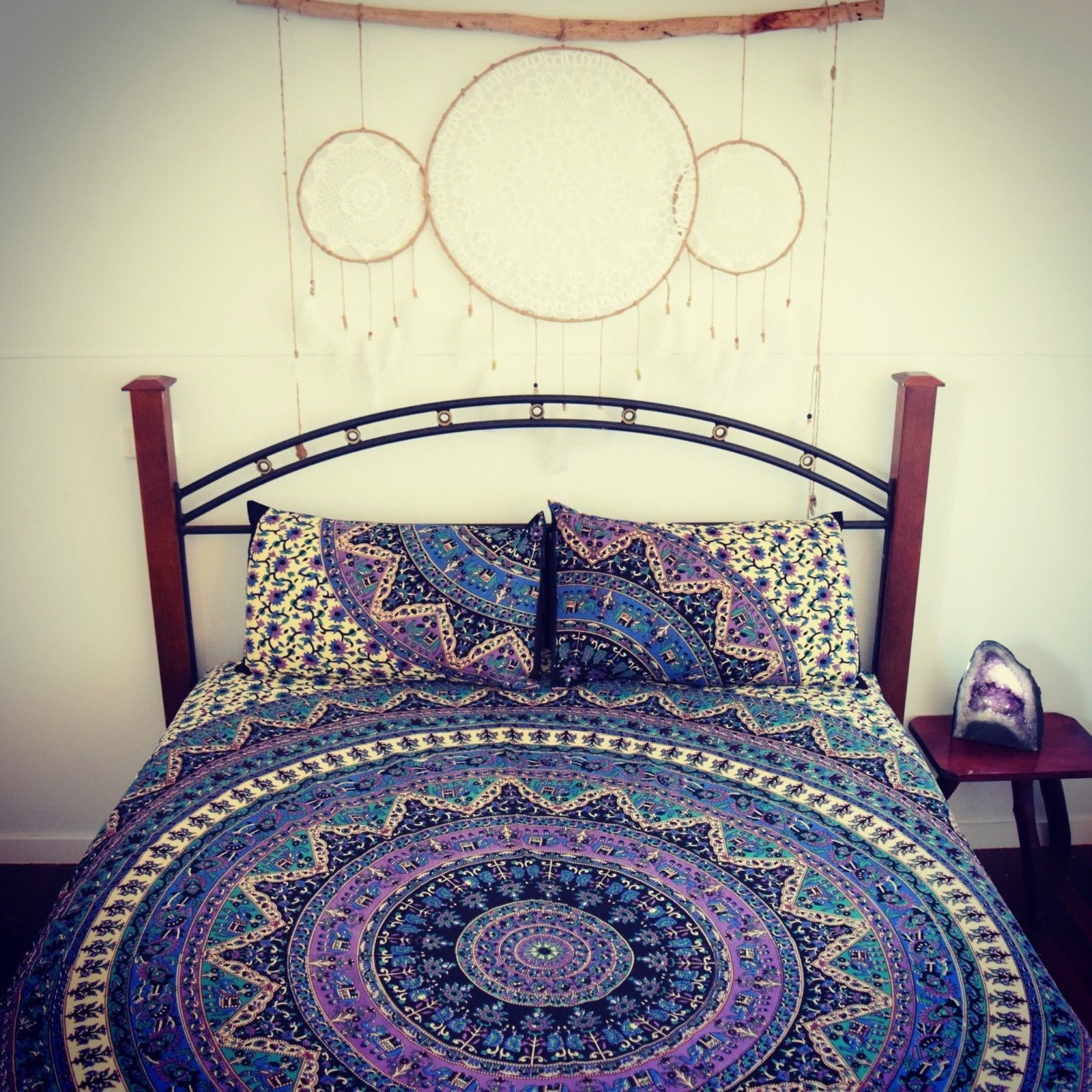 Blue Multi Kerala Boho Medallion Bedding Mandala Duvet