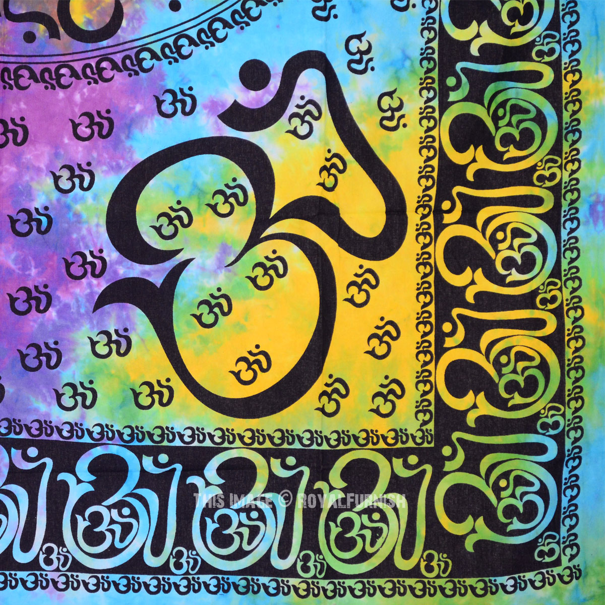 Turquoise Multi Om Aum Chakra Tie Dye Wall Tapestry - RoyalFurnish.com