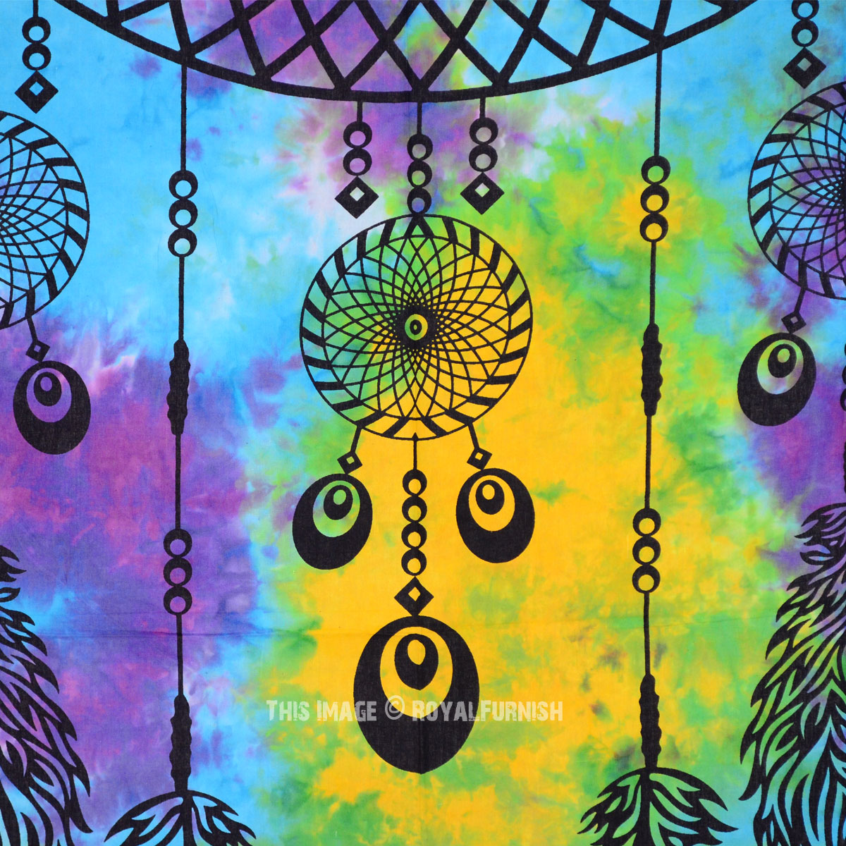 Turquoise Colorful Multi Tie Dye Dream Catcher Wall Tapestry ...