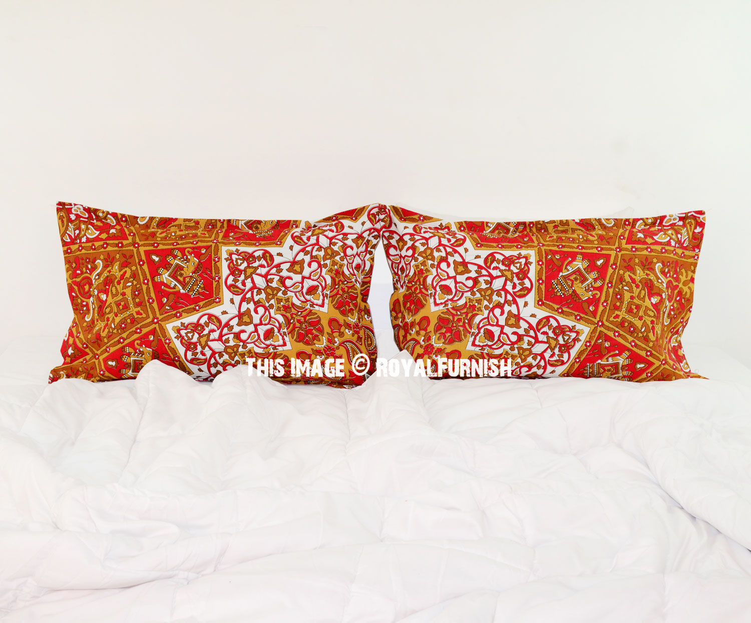 Red Yellow Multi 3D Boho Star Medallion Bed Pillow Covers Set of Two - RoyalFurnish.com