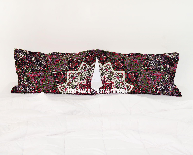 Black Green 3D Boho Star Medallion Bed Pillow Covers Set of Two - RoyalFurnish.com