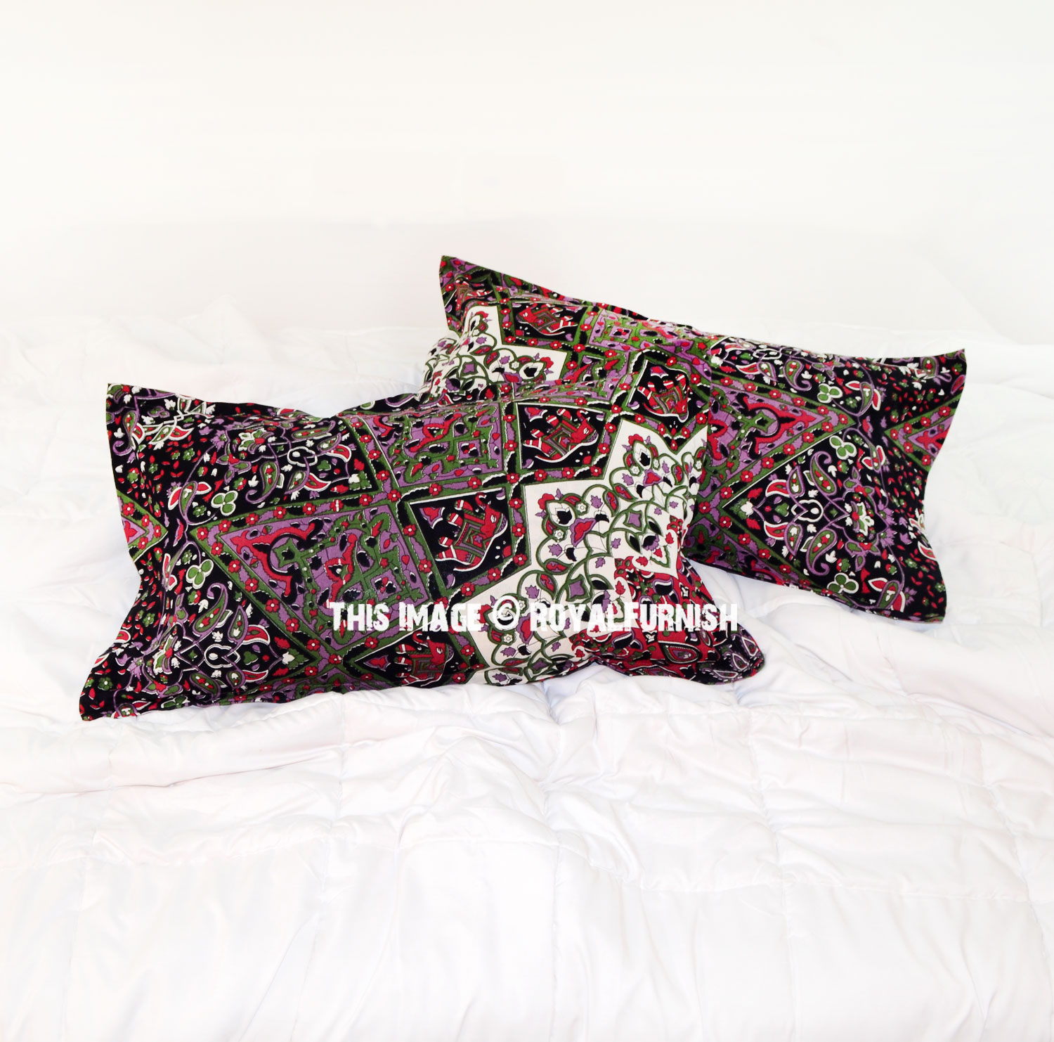 Black Green 3D Boho Star Medallion Bed Pillow Covers Set of Two - RoyalFurnish.com