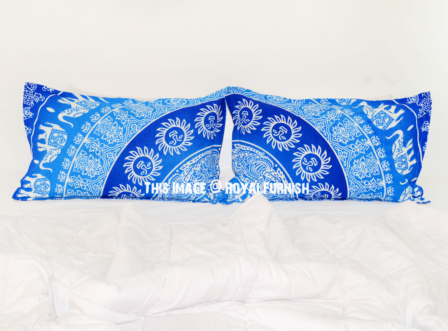 Turquoise Sun Elephants Featuring Boho Mandala Bed Pillow Cover Set of Two - RoyalFurnish.com