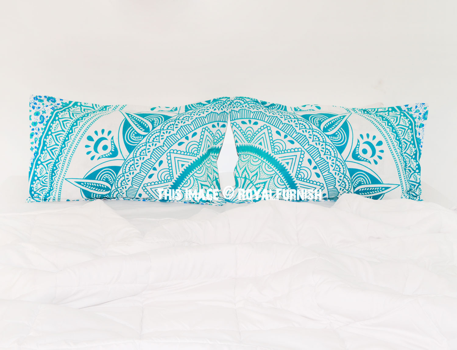 Decorative White Green Long Leafs Bohemian Mandala Bed Pillow Cases Set of Two - RoyalFurnish.com