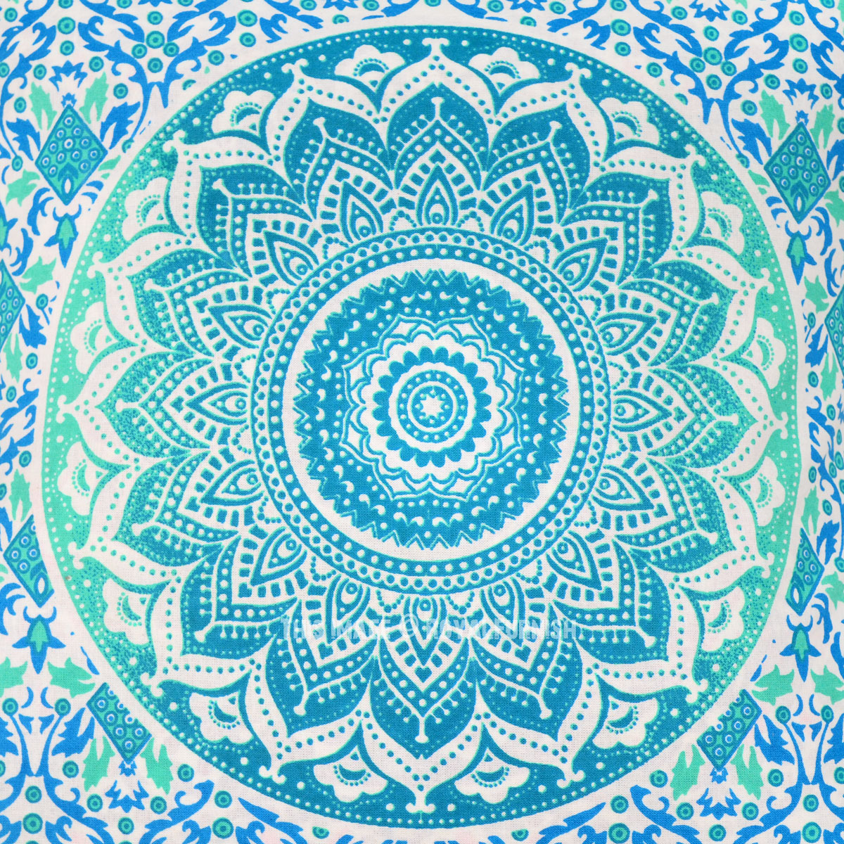 Sea Green Amp Turquoise Classic Mandala Cotton Throw Pillow