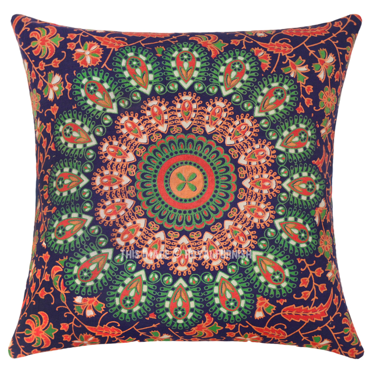 Blue & Orange Decorative Mandala Throw Pillow Cover - RoyalFurnish.com