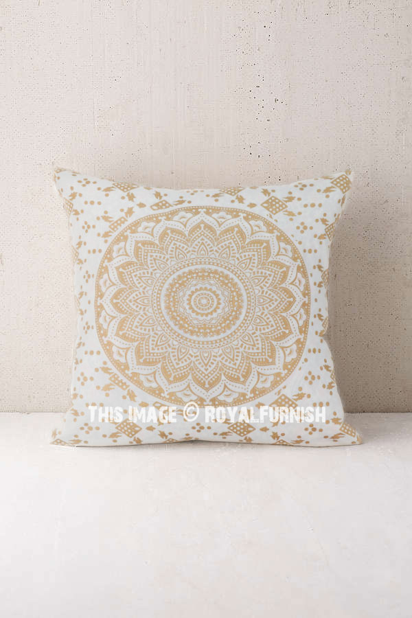 Gold Decorative Ombre Mandala Throw Pillow Covers