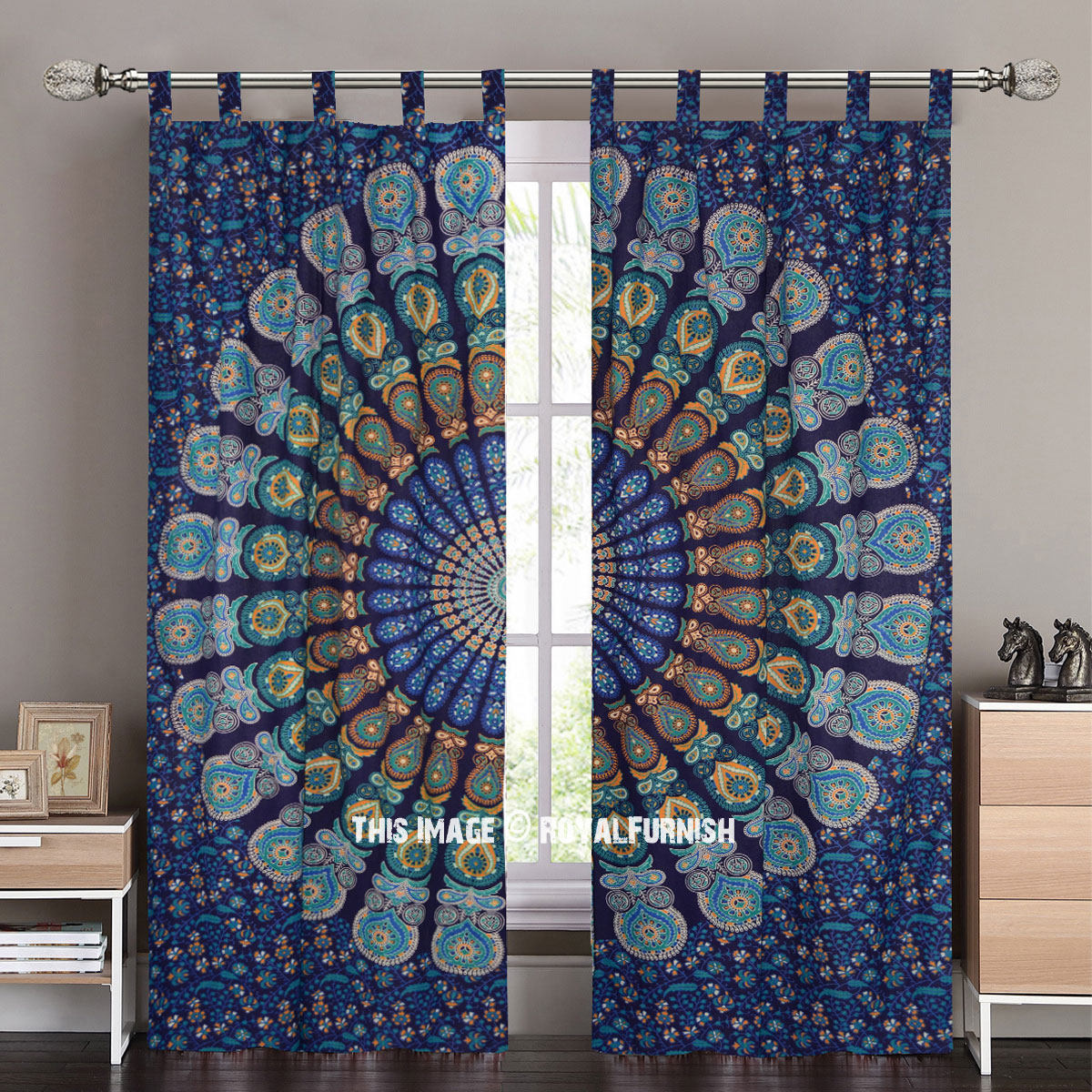 Blue Cosmos Mandala Tapestry Curtain Panel Pair