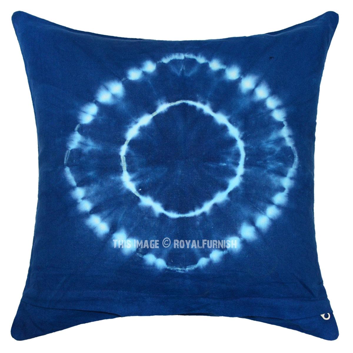 Blue Shibori Medallion Design Indigo Square Throw Pillow