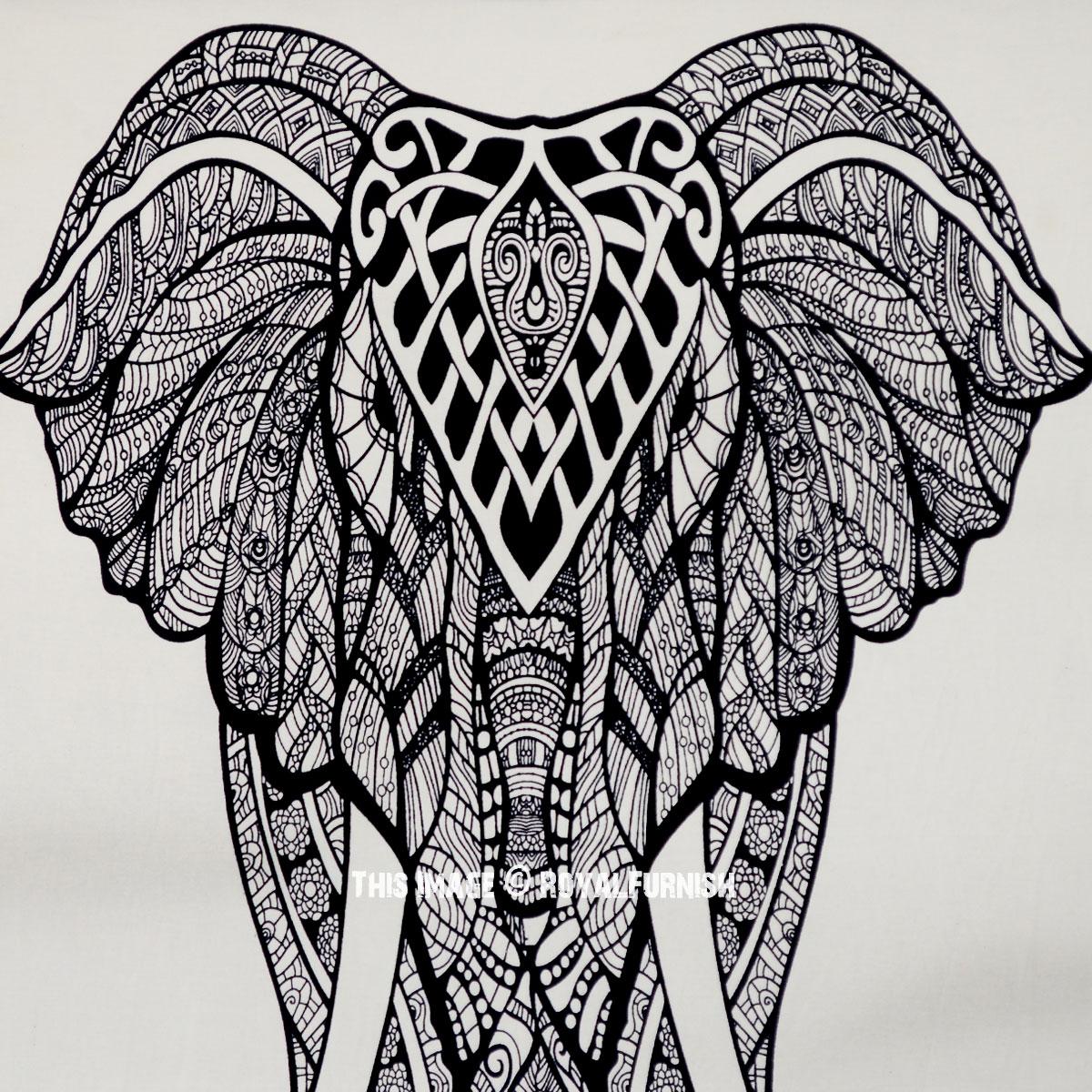 Black & White Asian Elephant Poster Size Tapestry ...