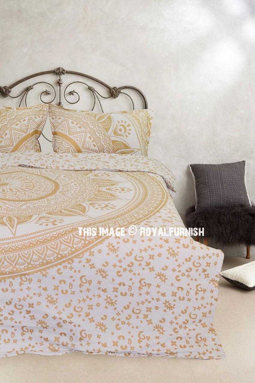 Gold Glimmer Daisy Boho Chic Mandala Bedding Duvet Cover
