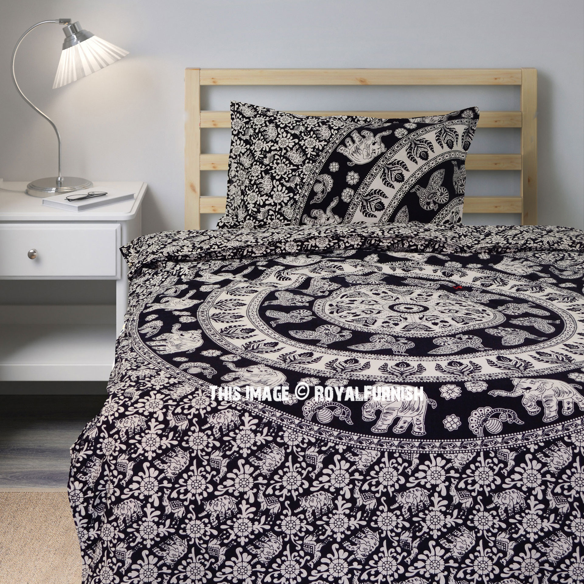 Twin Black Amp White Elephant Mandala Bedding Duvet Cover