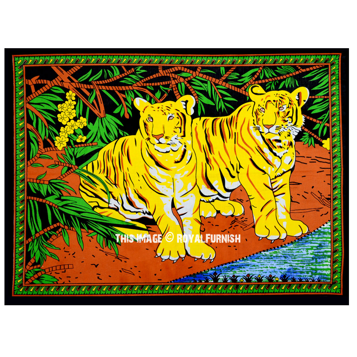 Riverside Sitting Indian Tiger Couple Cotton Fabric Wall