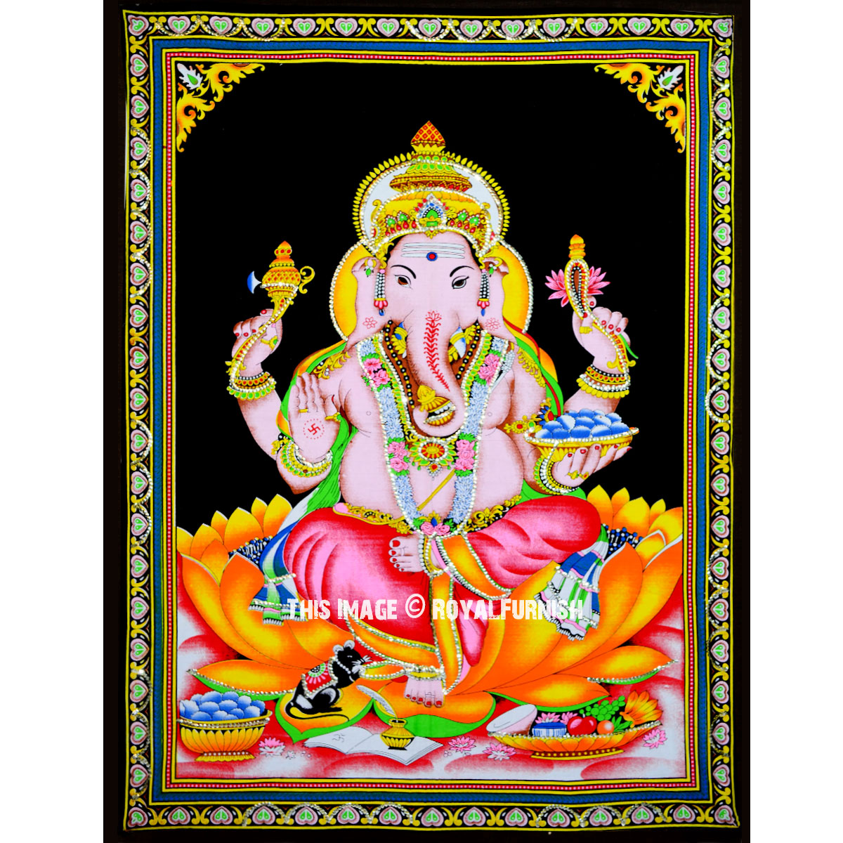 Hindu God Ganesha Cotton Fabric Cloth Poster Tapestry